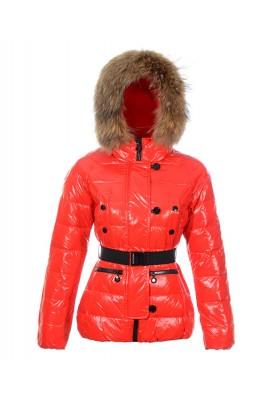 Moncler Gene Design Down Jackets Womens Decorative Belt Red