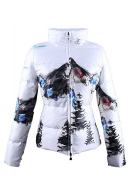 Moncler Illustrated Top Quality Jacket Women White Blue Short
