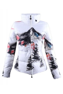 Moncler Illustrated Top Quality Jacket Women White Red Short