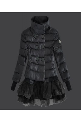2016 Moncler Fashion Down Jackets Womens Lace Black