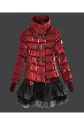 2016 Moncler Fashion Down Jackets Womens Lace Red
