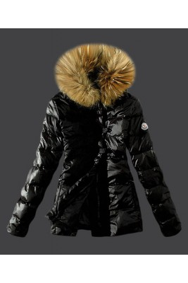 2016 Moncler Fashion Down Women Jacket Fur Collar Black