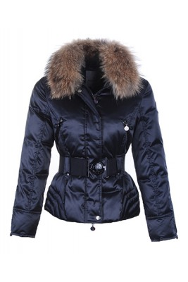 Moncler Popular Down Jackets For Women Decorative Belt Navy Blue