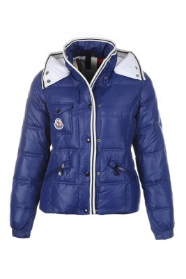 Moncler Quincy Down Jacket For Women Button Dark Blue Short