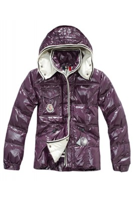 Moncler Quincy Women Down Jackets With Hat Purple Short