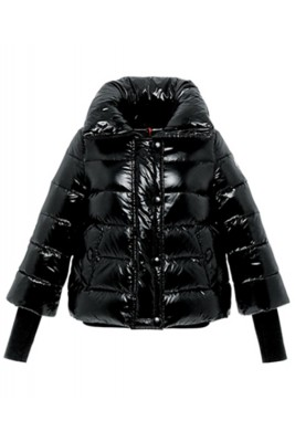 Moncler Tulsa Down Jackets Womens Rib Long Sleeve Collar Black