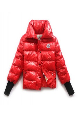 Moncler Tulsa Down Jackets Womens Rib Long Sleeve Collar Red