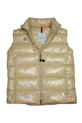 Cheap Moncler Down Sleeveless Vest Women Zip Beige