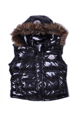 Moncler Cheap Sleeveless Down Vest Women Button Hat Black