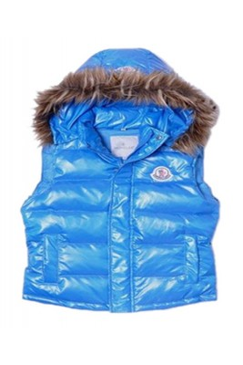 Moncler Cheap Sleeveless Down Vest Women Button Hat Blue