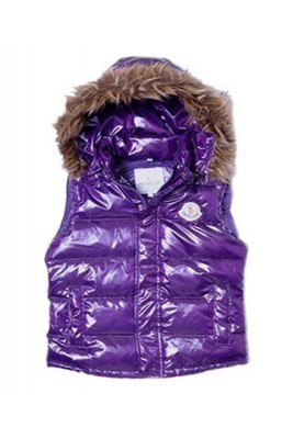 Moncler Cheap Sleeveless Down Vest Women Button Hat Purple