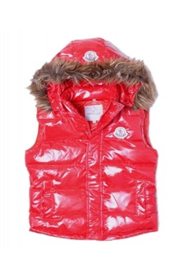 Moncler Cheap Sleeveless Down Vest Women Button Hat Red