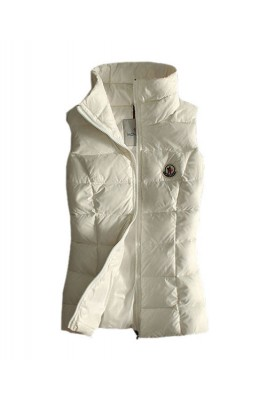 Moncler Designer Womens Down Vests Pure Color White
