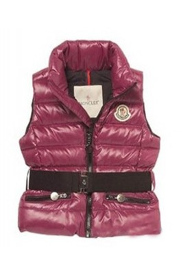 Moncler Discount Down Sleeveless Vest Women Zip Wine Red