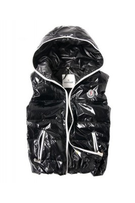 Moncler Down Vest Unisex Glossy Hooded Zip Black