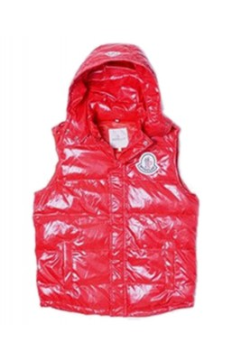 Moncler Down Vest Women Short Sleeveless Button Hat Red