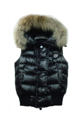 Moncler Tarn Womens Down Vest Rabbit Hats Zip Black