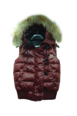 Moncler Tarn Womens Down Vest Rabbit Hats Zip Dark Red