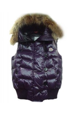 Moncler Tarn Womens Down Vest Rabbit Hats Zip Purple