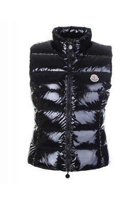 Moncler Vest for Women Smooth Shiny Fabric Black