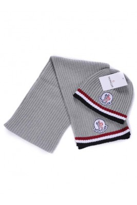 Moncler Scarf & Caps Pure Cotton Gray