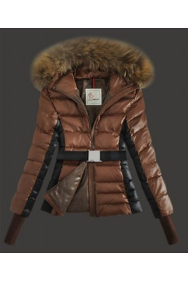 2016 Moncler Jackets Womens Long Sleeve With Belt Coffee