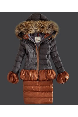 2016 Moncler Makori Down Coats Womens Zip Hooded Gray