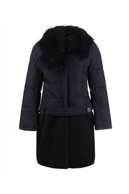 2016 Moncler Rongee Coat Women Detachable Fur Collar Black