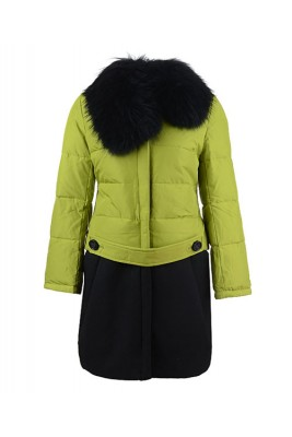 2016 Moncler Rongee Coat Women Detachable Fur Collar Grass