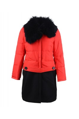 2016 Moncler Rongee Coat Women Detachable Fur Collar Red