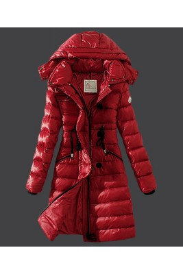 2016 Moncler Winter Down Coat Women Hooded Slim Red