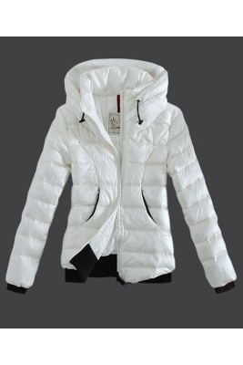 2016 Moncler Winter Jackets Womens Zip Stand Collar White
