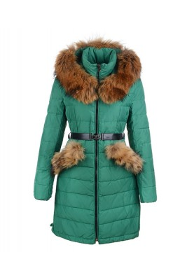 2016 Moncler Women Coat Detachable Cap With Belt Green