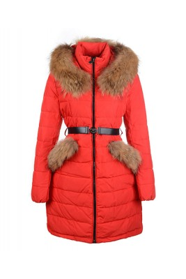 2016 Moncler Women Coat Detachable Cap With Belt Red