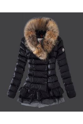 2016 Moncler Women Down Jacket Single Breasted Lace Black