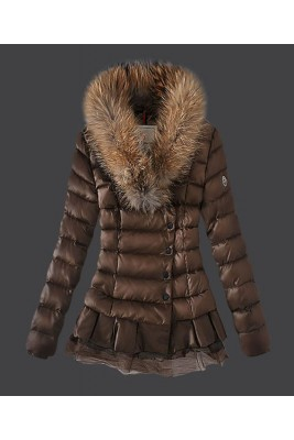 2016 Moncler Women Down Jacket Single Breasted Lace Coffee