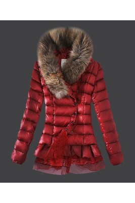 2016 Moncler Women Down Jacket Single Breasted Lace Red