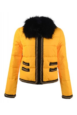 2016 Moncler Bergenie Jackets Womens Fur Collar Yellow