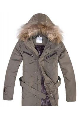 Moncler Coat Men Hooded Fur Collar Brown