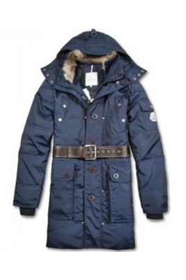 Moncler Down Coats Mens Mid-Length Hooded Blue