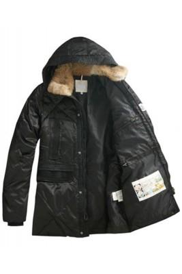 Moncler Men Coat Mid Length Hooded Down Black