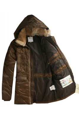 Moncler Men Coat Mid Length Hooded Down Coffee