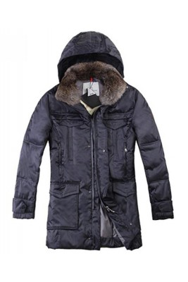 Moncler Men Coat Mid Length Hooded Down Navy Blue