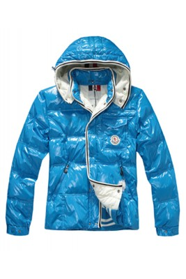 Moncler Branson Classic Men Down Jackets With Hat Sky Blue