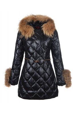 2016 Moncler Coat For Women Hooded With Belt Black