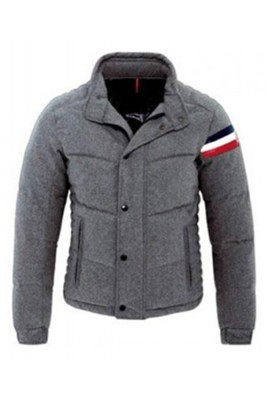 Moncler Chartreuse Down Jackets Mens Single Breasted Grey