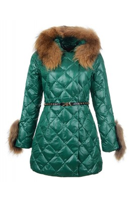 2016 Moncler Coat For Women Hooded With Belt Green