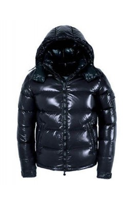 Moncler Maya Winter Down Jacket Mens Short Glossy Zip Dark Blue