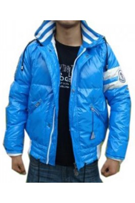 Moncler Mosaic Down Jackets Mens With Hooded Zip Blue