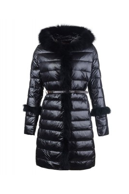 2016 Moncler Coats Womens Hooded Fur Collar Black